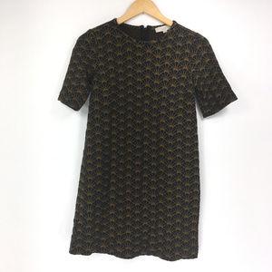 Ann Taylor LOFT XS Black Brown Tunic Mini Dress